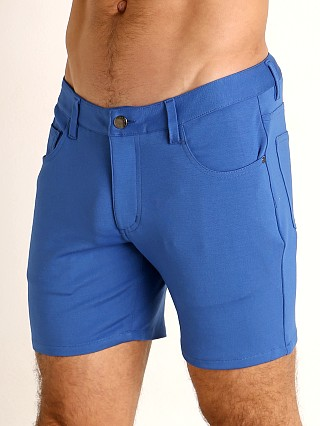 Model in petrol blue St33le Knit Jeans Shorts
