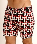 St33le Knit Jeans Shorts Red/Black Geo Abstract, view 3