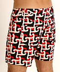 St33le Knit Jeans Shorts Red/Black Geo Abstract, view 4