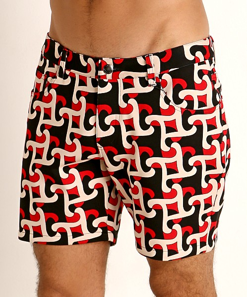 St33le Knit Jeans Shorts Red/Black Geo Abstract