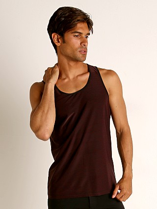Model in maroon/black St33le Engineered Stripes Stretch Performance Tank Top Maroon/Bl