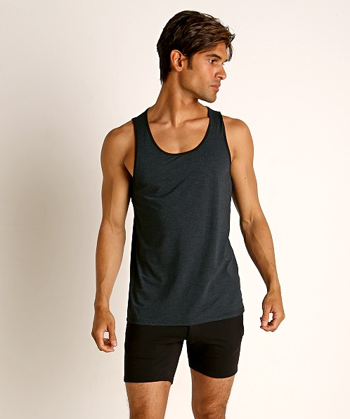 St33le Perforated Mesh Performance Tank Top Midnight