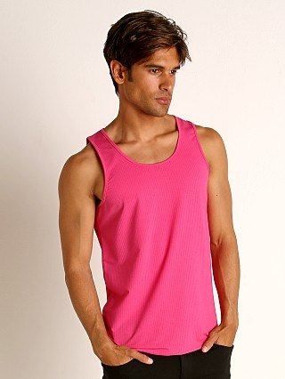 Model in fuchsia St33le Perforated Mesh Performance Tank Top