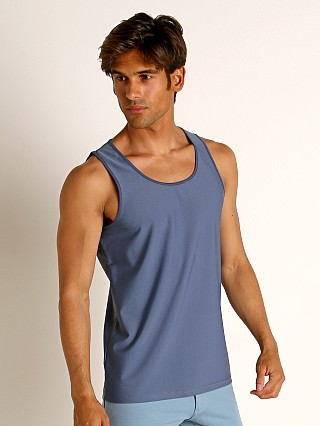 Model in marine blue St33le Honeycomb Air Mesh Performance Tank Top