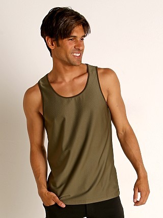 Model in olive St33le Honeycomb Air Mesh Performance Tank Top