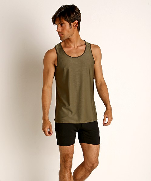 St33le Honeycomb Air Mesh Performance Tank Top Olive