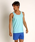 St33le Honeycomb Air Mesh Performance Tank Top Aqua, view 2
