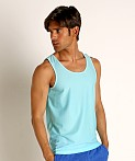 St33le Honeycomb Air Mesh Performance Tank Top Aqua, view 3