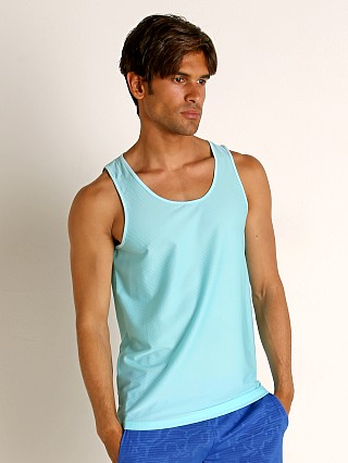 Model in aqua St33le Honeycomb Air Mesh Performance Tank Top