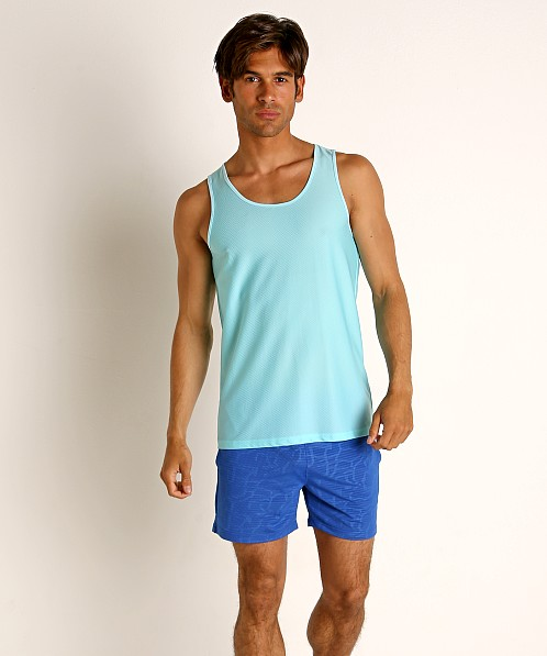 St33le Honeycomb Air Mesh Performance Tank Top Aqua