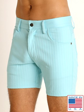 Model in aqua LASC Pinstriped Stretch Twill 5-Pocket Shorts