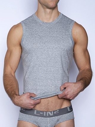 Model in grey heather C-IN2 Core Sleeveless Crew Neck Shirt