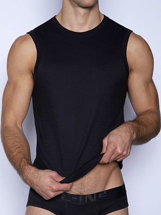 Model in black C-IN2 Core Sleeveless Crew Neck Shirt