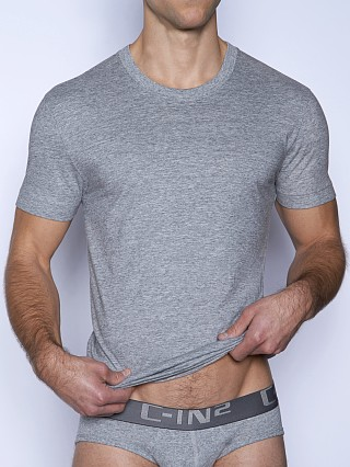 Model in grey heather C-IN2 Core Crew Neck Shirt
