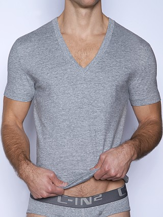 Model in grey heather C-IN2 Core Deep V-Neck Shirt