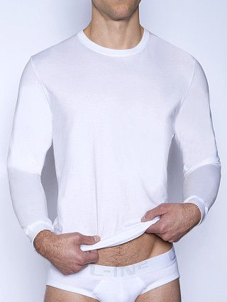 Model in white C-IN2 Core Long Sleeve Crew Neck Shirt