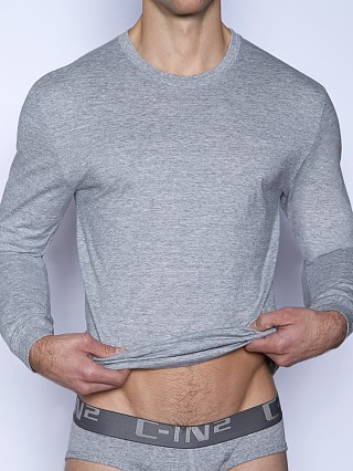 Model in grey heather C-IN2 Core Long Sleeve Crew Neck Shirt