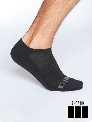 Model in black C-IN2 Core No Show Socks 3-Pack