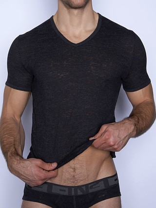 Model in coal heather C-IN2 Hand Me Down Ringer V-Neck Shirt