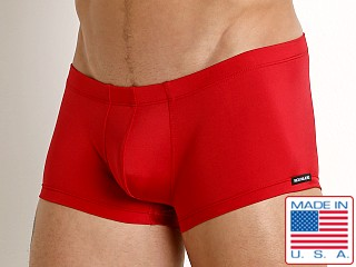 Model in red Rick Majors Power Spandex Trunk