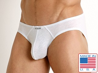 Model in white Rick Majors UltraLite Stretch Cotton Hip Brief