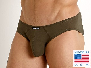 Model in olive Rick Majors UltraLite Stretch Cotton Hip Brief