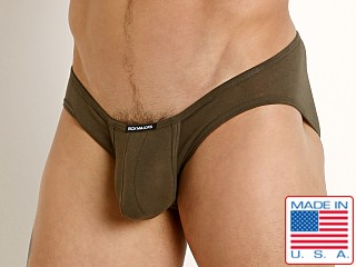 Model in olive Rick Majors UltraLite Stretch Cotton C-Ring Brief