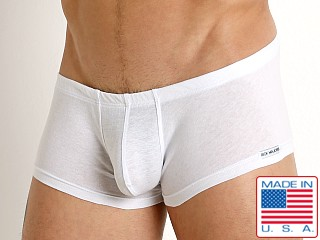 Model in white Rick Majors UltraLite Stretch Cotton Trunk