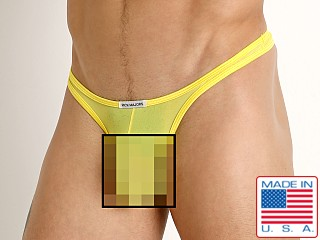 Model in yellow Rick Majors Sheer Mesh Thong