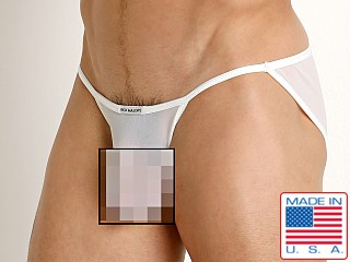 Model in white Rick Majors Sheer Mesh Sports Brief