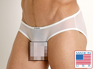 Model in white Rick Majors Sheer Mesh Hip Brief