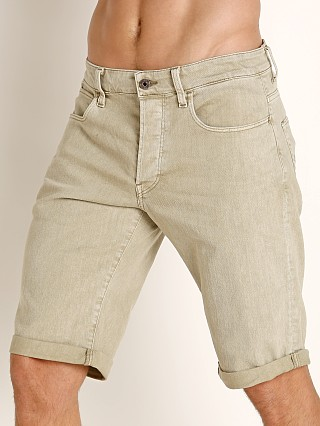 Model in khaki G-Star 3301 Inza Stretch Denim Shorts