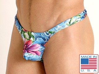 Model in island flowers Rick Majors Low Rise Swim Thong
