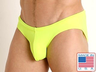 Model in lemon lime Rick Majors Low Rise Swim Brief