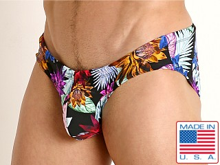 Model in black tropics Rick Majors Low Rise Swim Brief