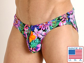 Model in fluorescent flowers Rick Majors Low Rise Swim Brief