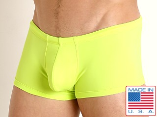 Model in lemon lime Rick Majors Low Rise Swim Trunk