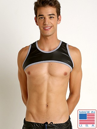 Model in black/grey Go Softwear Fetiche Pleather Harness