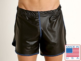 Model in black Go Softwear Fetiche Pleather Short with Built-in Jock