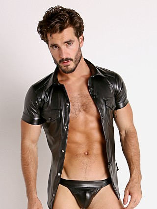 Model in black Modus Vivendi Leather Look Shirt