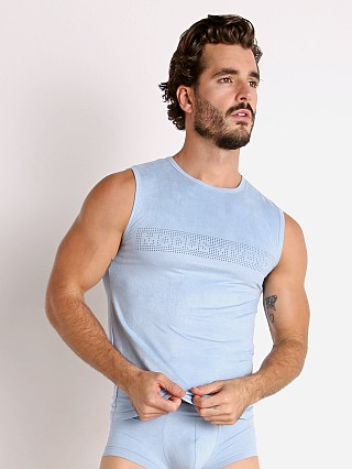 Complete the look: Modus Vivendi Vegan Suede Laser Cut Muscle Shirt Light Blue