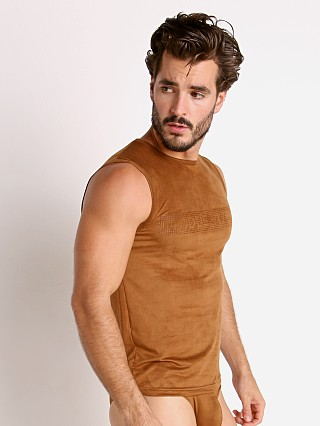 Complete the look: Modus Vivendi Vegan Suede Laser Cut Muscle Shirt Camel