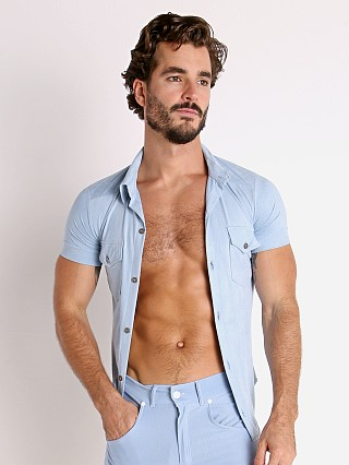 Model in light blue Modus Vivendi Vegan Suede Shirt