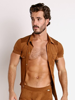 Model in camel Modus Vivendi Vegan Suede Shirt