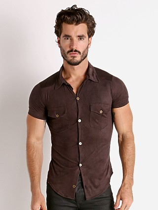 Model in brown Modus Vivendi Vegan Suede Shirt