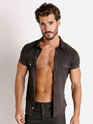 Model in black Modus Vivendi Vegan Suede Shirt