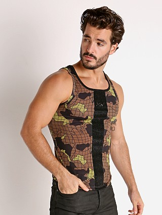 Model in khaki Modus Vivendi Trapped Camo Tank Top