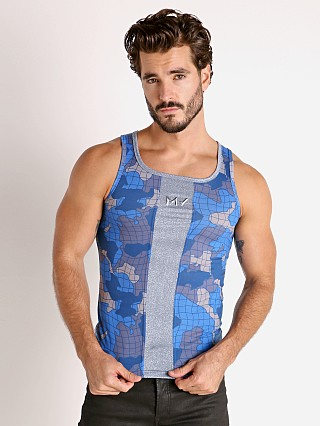 Model in blue Modus Vivendi Trapped Camo Tank Top