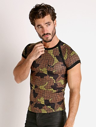 Model in khaki Modus Vivendi Trapped Camo T-Shirt