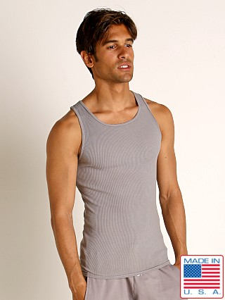 Model in pewter Go Softwear Moderne Ribbed Tank Top